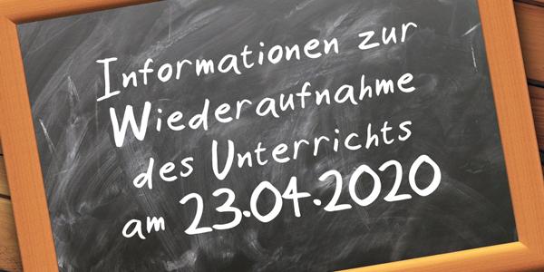Gestaltung der Wiederaufnahme des Unterrichts (1. Tag am 23.04.2020)